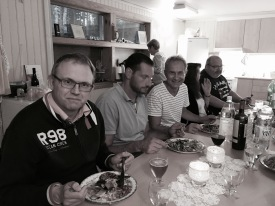 Nils d.ä., Conny, Bengt, Annica och Bosse. Fru Schmeling i bakgrunden.